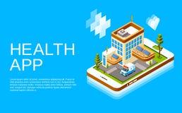 Saúde em linha isométrica app da medicina do vetor ilustração do vetor
