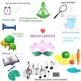 Saúde física e mental infographic: atividade, nutrição, resto ilustração stock