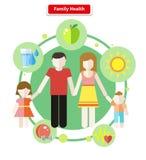 Saúde lisa da família do conceito do estilo do ícone Foto de Stock Royalty Free