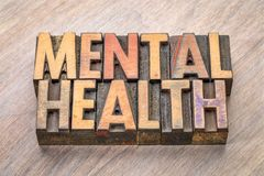 Saúde mental no tipo da madeira da tipografia Fotografia de Stock