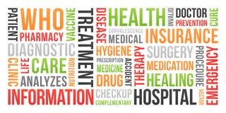 Saúde, seguro, médico - nuvem da palavra imagem de stock