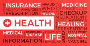 Saúde, seguro, médico - nuvem da palavra ilustração royalty free