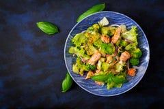 Sałatka łosoś, brokuły, sałata i opatrunek stewed rybi, Fotografia Stock