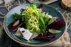 Sałatka świeże zielenie, ser i rzodkiew w wieśniaku, projektujemy fotografia royalty free
