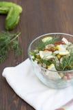 Sałatka kałamarnica, świezi warzywa i ziele gotujący, Obraz Stock