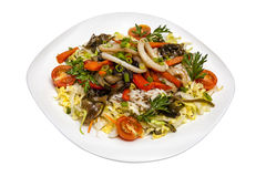 Sałatka od kałamarnic ryż i warzywa Obrazy Stock