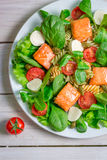 Sałatka z łososiowymi i świeżymi warzywami Zdjęcia Stock