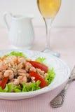 Sałatka z garnelą, pomidorami i soczewicami, Fotografia Stock
