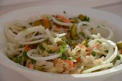 Sałatka z greenness, węgiel, sauerkraut, cebula, marchewka fotografia royalty free