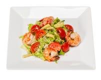 Sałatka z sałatą, garnele, czereśniowi pomidory, avocado Obraz Stock
