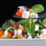 Sałatka z serem, pomidorami i basilem na rozwidleniu, zdjęcia stock