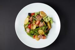 Sałatka z tuńczykiem styl włocha składniki żywności kulinarni włoskich carpaccio kuchni doskonale stylu życia, jedzenie luksus wł Zdjęcia Stock