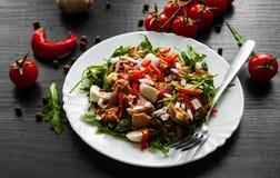 Sałatka z Zielonym rucola, ser, tuńczyk, cebula, pieprz w białym pucharze na ciemnym drewnianym tle obraz stock