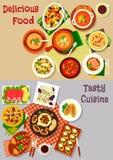 Sałatki, przekąski i zupnych naczyń ikona dla karmowego projekta, ilustracja wektor