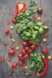 Sałatkowi składniki i ziele Zdjęcie Stock