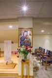 崇拜教堂,永久帮助的母亲发怒针在Sa的 库存图片