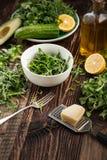Sałata i butelka oliwa z oliwek Obraz Royalty Free