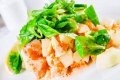Sałatka z owoce morza i szpinakiem Fotografia Stock