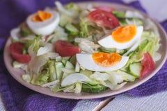 Sałatka z pomidorami, jajko, ogórki Fotografia Stock