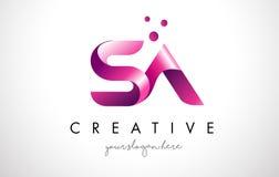 Sa-bokstav Logo Design med lilafärger och prickar stock illustrationer