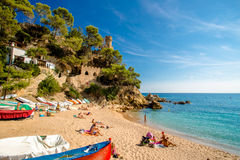 Sa Caleta beach. View of the beach of Sa Caleta in Lloret de Mar Stock Photography