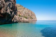 在马略卡,西班牙的Sa Calobra海滩 库存图片
