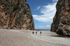 Sa Calobra beach , Torrent de Pareis , Mallorca stock images