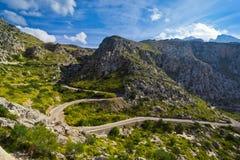 Sa Calobra på den Mallorca ön, Spanien royaltyfri bild