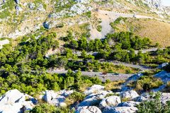 Sa Calobra Road, one of the most scenic, dangerous and spectacular roads in the world, famous for turns of up to 360. Degrees. Majorca Mallorca, Baleraic Stock Photography