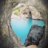 Sa Calobra, Mallorca. Sa Calobra, is a small cove hidden in Mallorca. Its crystal clear waters impress the visitor royalty free stock photos