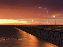 SA Ceduna Jetty Sunset LIghtning Royalty Free Stock Photos