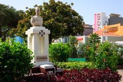 Sa De Bandeira staty i Mindelo, Kap Verde Arkivbilder
