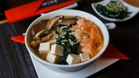 Sa?de jap?o do arroz de ?sia do sashimi do sushi do Miso fotografia de stock royalty free