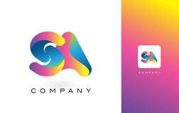 SA de Mooie Kleuren van Logo Letter With Rainbow Vibrant Kleurrijk t Stock Fotografie