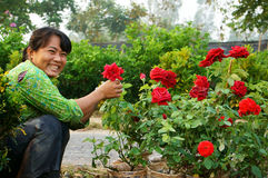 Happiness of asia Farmer in springtime Royalty Free Stock Photos