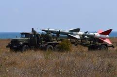 SA-3 Goa- С-125 Neva on ZIL army truck. Near Tyulenovo Bulgaria on the Black Sea during NATO exercise Stock Photo