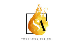 SA gouden Brief Logo Painted Brush Texture Strokes Stock Foto's