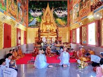 SA KAEO, THAILAND  APRIL 19 The monk ordained in the temple. on April 19, 2018 in Sa kaeo, Thailand. The ordination of monks is. A religious ceremony of the royalty free stock photos