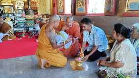 SA KAEO, THAILAND  APRIL 19 The monk ordained in the temple. on April 19, 2018 in Sa kaeo, Thailand. The ordination of monks is. A religious ceremony of the royalty free stock photography