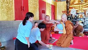 SA KAEO, THAILAND  APRIL 19 The monk ordained in the temple. on April 19, 2018 in Sa kaeo, Thailand. The ordination of monks is. A religious ceremony of the stock images