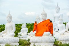 Monks dressing one of White Buddha Image with robes Stock Photos