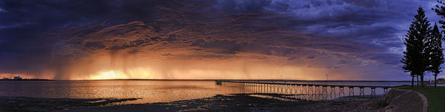 Sa-Meer-Ceduna-Bucht-Anlegestellen-Recht Stockfotografie