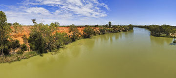 SA Murray From Bridge Day Vert pan. Panoramic view of wide and the biggest australian river Murray from Bridge on a sunny day Royalty Free Stock Images