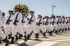 SA Navy marches in formation, carrying rifles Royalty Free Stock Photos