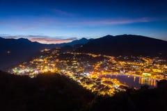 Sa Pa,山的一个城市在日落 免版税库存照片