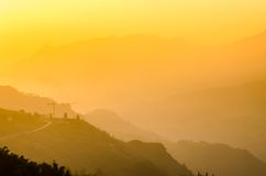 Sa Pa, city in the mountains on sunset Stock Images