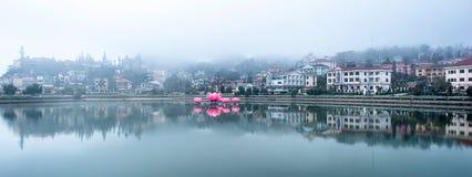 Sa Pa miasto w mgle Obraz Royalty Free