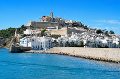 Sa Penya and Dalt Vila districts in Ibiza Town, Balearic Islands. View of Sa Penya and Dalt Vila districts in Ibiza Town, Balearic Islands, Spain royalty free stock photo