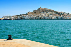 Sa Penya en de districten van Dalt Vila in Ibiza-Stad, Spanje Royalty-vrije Stock Afbeeldingen
