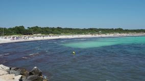 Sa Rapita, Mallorca Spain. Amazing landscape of the charming Es Rapita beach and turquoise sea. Summer time stock video